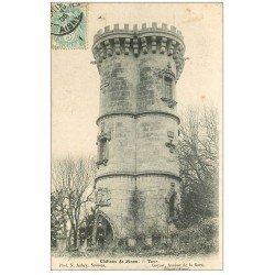 carte postale ancienne 02 PINON. Château et Tour 1905. Gamins assis