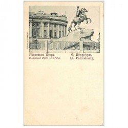 carte postale ancienne RUSSIE. Saint Pétersbourg. Monument Pierre le Grand vers 1900