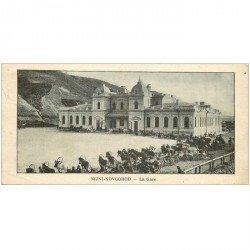 carte postale ancienne RUSSIE. Niji Novgorod. La Gare. Carte miniature 14 x 7 cm timbre Ruche Moderne prime 0.20