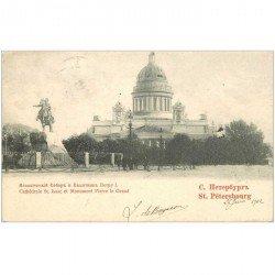 carte postale ancienne RUSSIE. Saint Pétersbourg. Cathédrale Saint Isaac et Monument Pierre le Grand 1902