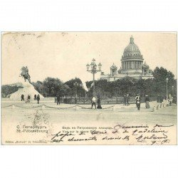 carte postale ancienne RUSSIE. Saint Pétersbourg. Place Piere vers 1900