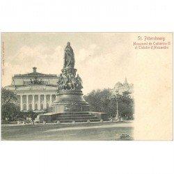 carte postale ancienne RUSSIE. Saint Pétersbourg. Thétre Alexandre et Monument Catherine II vers 1900