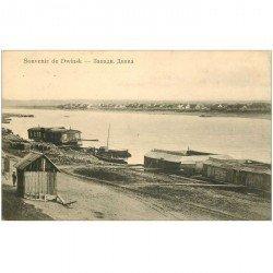 carte postale ancienne RUSSIE. Souvenir de Dwinsk Péniches Lavoirs 1910