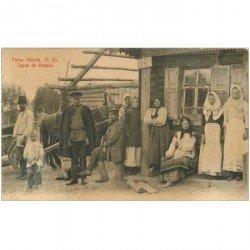 carte postale ancienne RUSSIE. Types de Russe vers 1900s. Attention coin gauche inférieur mou...