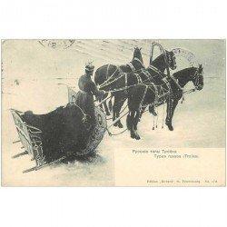 carte postale ancienne RUSSIE. Types et Attelage Russes ou Troika 1910
