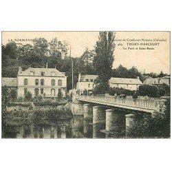 carte postale ancienne 14 THURY-HARCOURT. Le Pont et Saint-Benin 1917