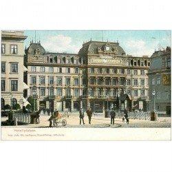 carte postale ancienne SUEDE. Hotellplatsen. Imprimerie à Göteborgvers 1900