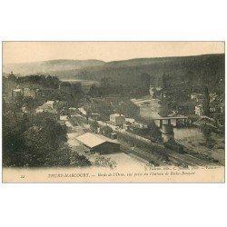 carte postale ancienne 14 THURY-HARCOURT. L'Orne, la Gare et ligne du Chemin de Fer
