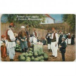 carte postale ancienne BOSNIE. Bosanski pazar Lubenica vendeurs de pastèques