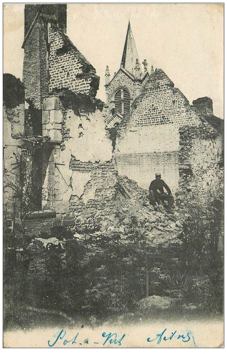 carte postale ancienne 02 PONTAVERT. Militaire maison détrite 1916