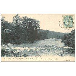carte postale ancienne 14 TROIS MONTS. Déversoir Moulin du Pray 1905