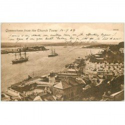 carte postale ancienne IRLANDE. Queenstown from the Church Tower 1909