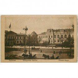 carte postale ancienne ROUMANIE. Bukarest. Königliches Schloss. Fine nervure verticale