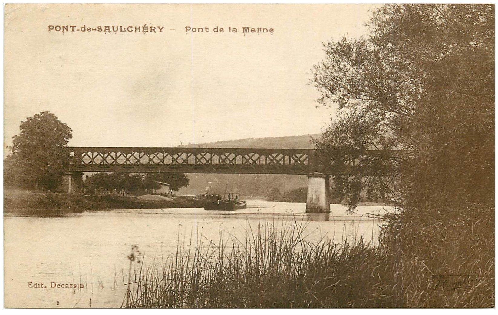 carte postale ancienne 02 PONT-DE-SAULCHERY. Pont de la Marne 1927 péniche