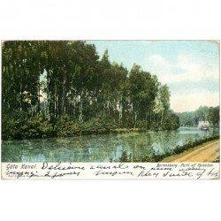carte postale ancienne NORVEGE. Gôta Kanal Borensberg Parti af Kanalen vers 1900