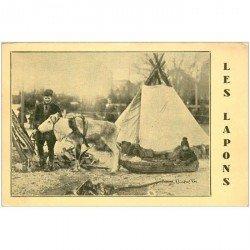carte postale ancienne NORVEGE. Les Lapons avec Renne