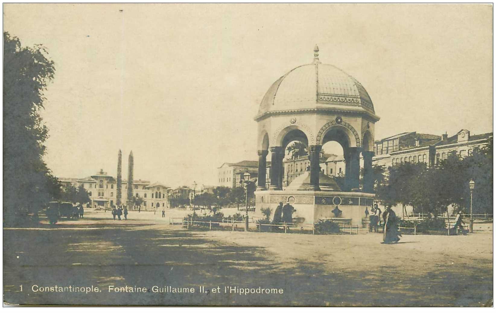 carte postale ancienne TURQUIE. Constantinople. Fontaine Guillaume et Hippodrome 1919