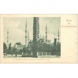 carte postale ancienne TURQUIE. Constantinople. Mosquée Sultan Ahmed. Pli fin coin droit