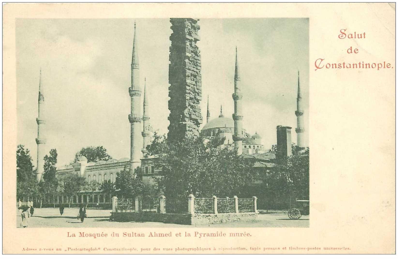 carte postale ancienne TURQUIE. Constantinople. Mosquée Sultan Ahmed. Pli fin coin droit
