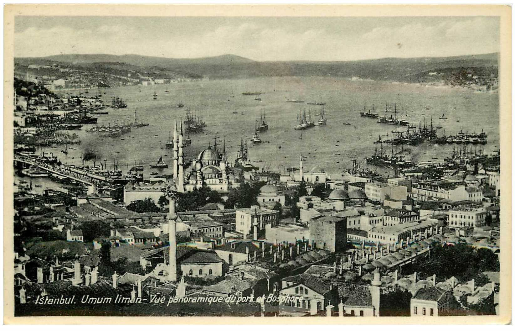 carte postale ancienne TURQUIE. Istambul. Port de Bosphore 1936 Umum liman