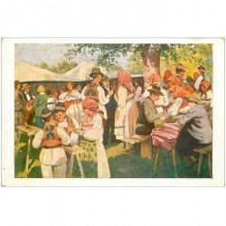 carte postale ancienne CROATIE. Kroatishe Volkstracht les jeux