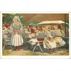 carte postale ancienne CROATIE. Kroatishe Volkstracht repas