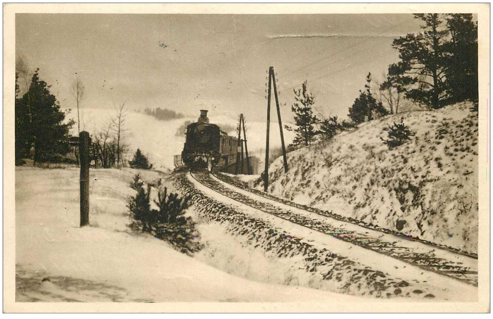 carte postale ancienne CROATIE. VANOCNI A NOVOROCNIP. Zimni Mlhou 1939 Locomotive et Train