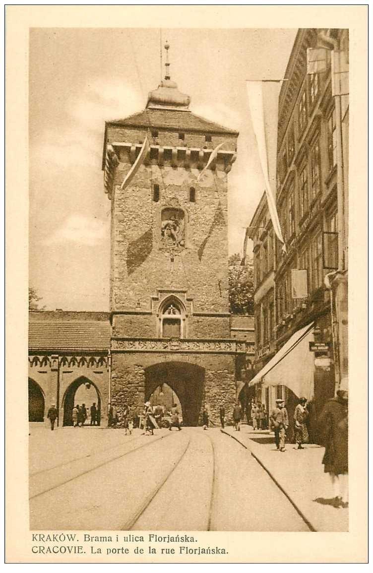 carte postale ancienne POLOGNE POLAND. Krakow Cracovie. Porte rue Florjanska