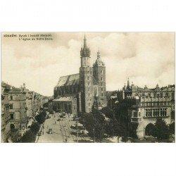 carte postale ancienne POLOGNE. Krakow. Rynek i Kosciot Marjacki. Carte postale photo vierge