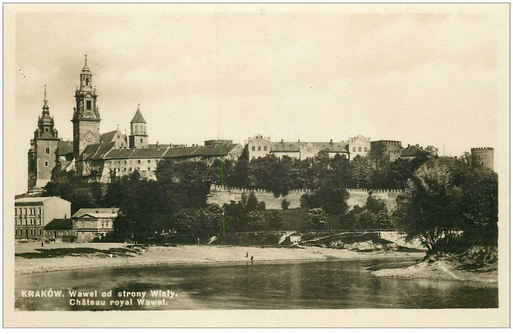 carte postale ancienne POLOGNE. Krakow. Wawel od strony Wisty. Photo carte postale