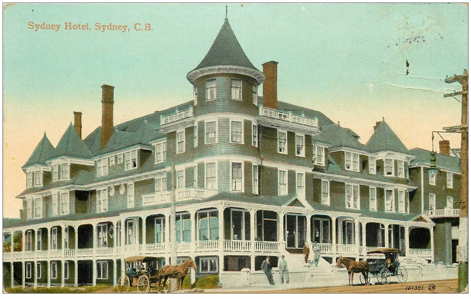 carte postale ancienne AUSTRALIE. Sydney Hotel avec attelages 1914