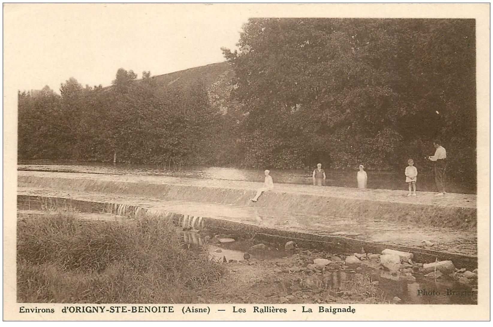 carte postale ancienne 02 Près ORIGNY-STE-BENOITE. Les Rallières. Baignade