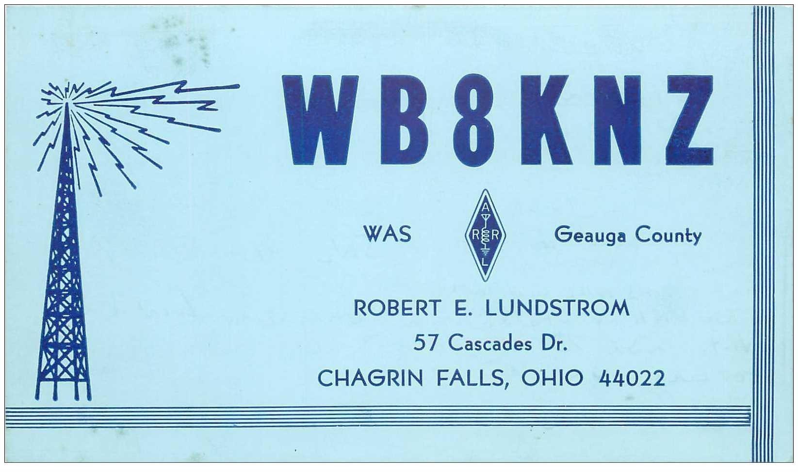 carte postale ancienne CARTE RADIO QSL. Chagrin Falls Ohio 1972