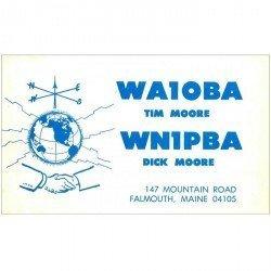 carte postale ancienne CARTE RADIO QSL. Falmouth Maine 1972