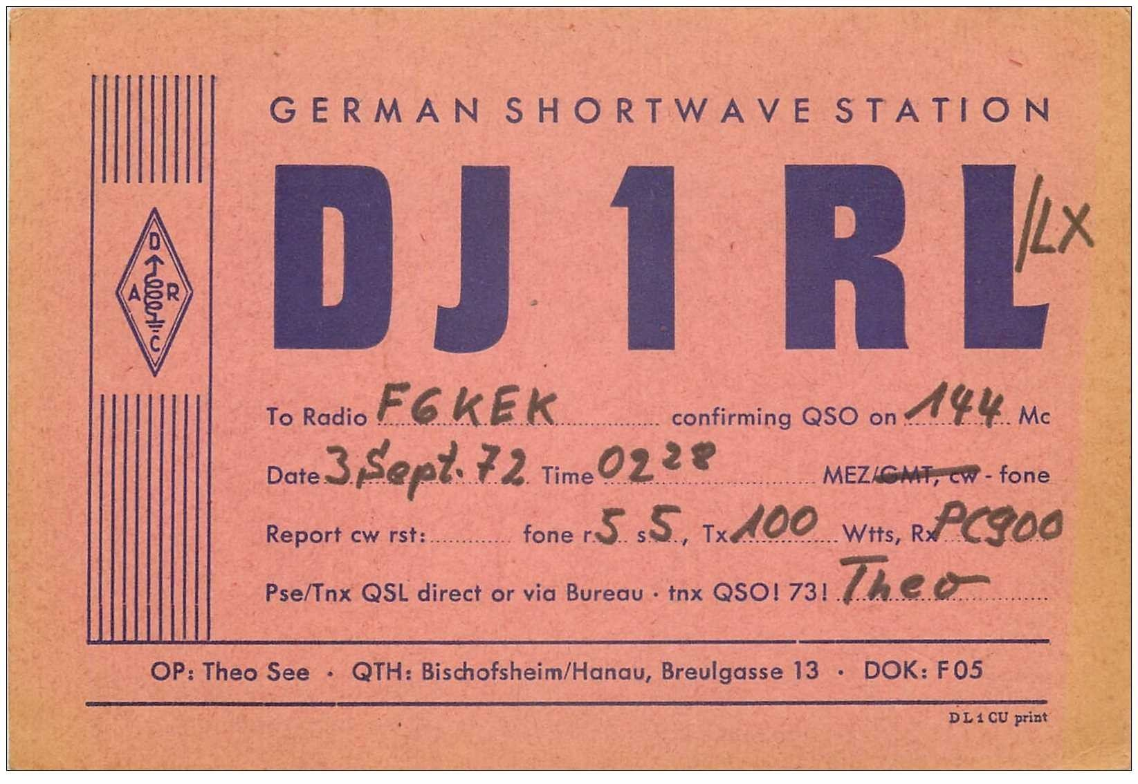 carte postale ancienne CARTE RADIO QSL. German 1972