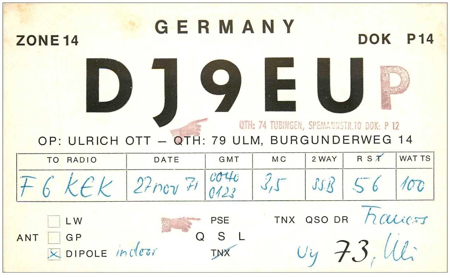carte postale ancienne CARTE RADIO QSL. Germany 1971