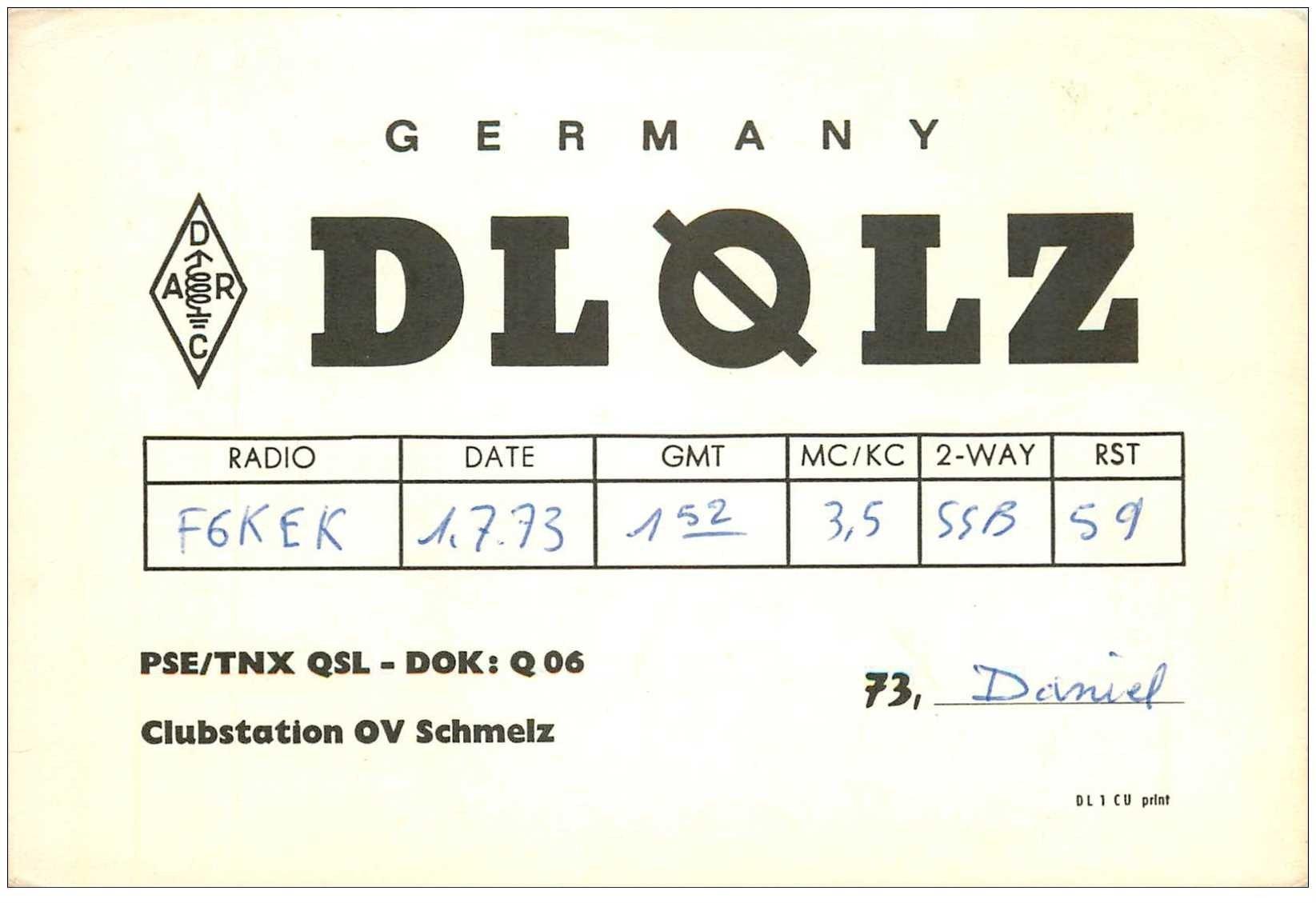 carte postale ancienne CARTE RADIO QSL. Germany 1973