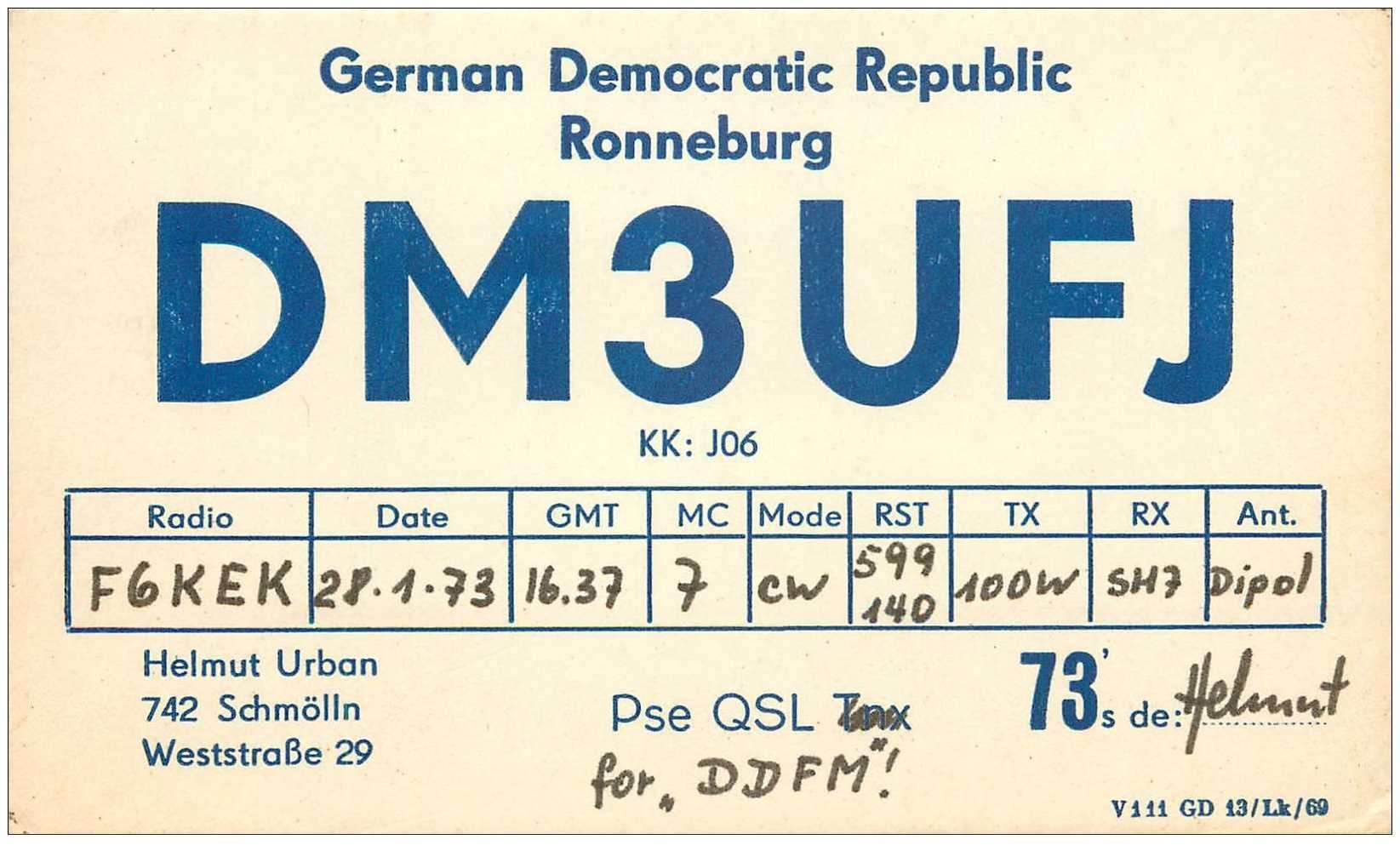 carte postale ancienne CARTE RADIO QSL. Germany Ronneburg 1973