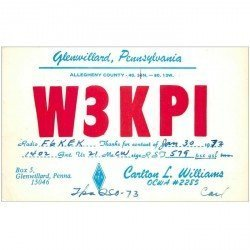 carte postale ancienne CARTE RADIO QSL. Glenwillard Pennsylvania 1972