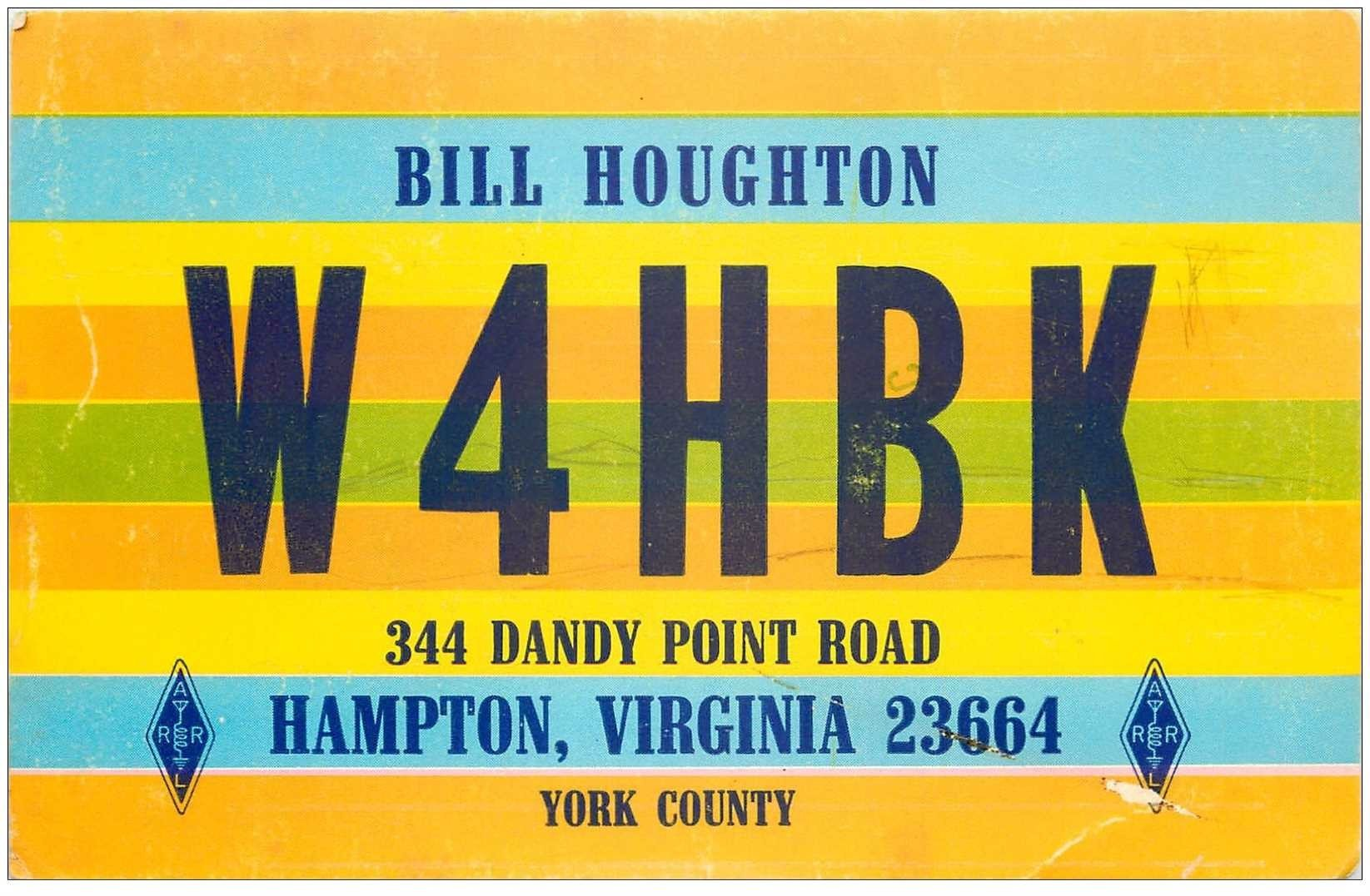 carte postale ancienne CARTE RADIO QSL. Hampton Virginia 1972 U.S.A Air Mail