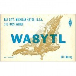 carte postale ancienne CARTE RADIO QSL. Michigan 1975
