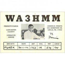 carte postale ancienne CARTE RADIO QSL. Pennsylvania 1972