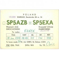 carte postale ancienne CARTE RADIO QSL. Poland 1973