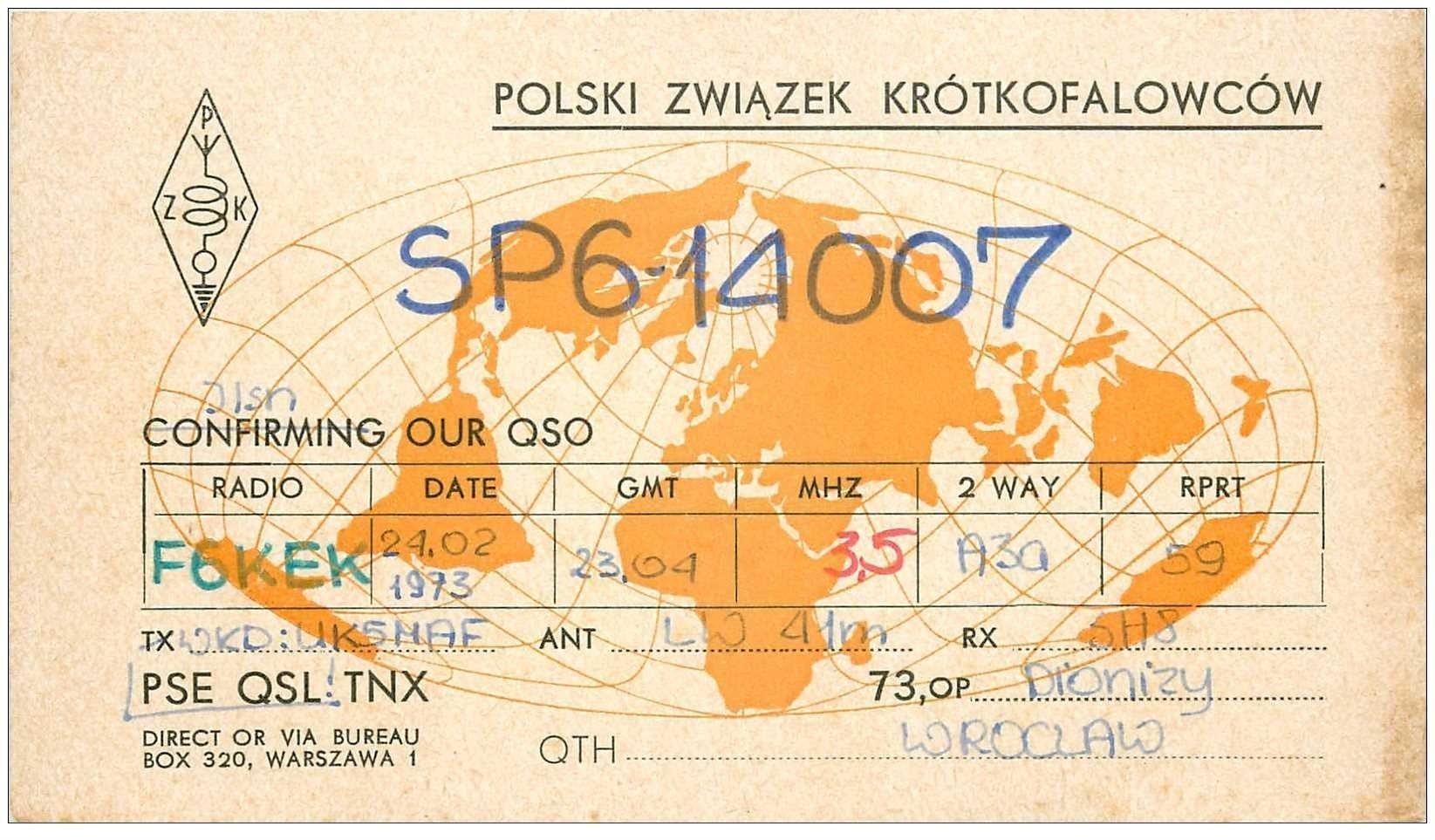 carte postale ancienne CARTE RADIO QSL. Polski 1973