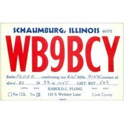 carte postale ancienne CARTE RADIO QSL. Schaumburg Illinois 1972