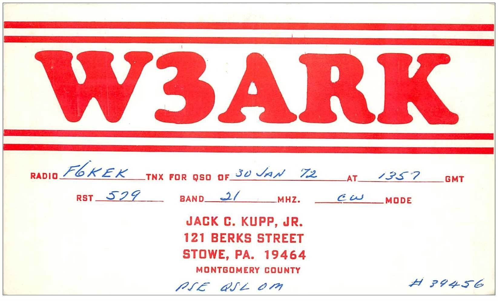 carte postale ancienne CARTE RADIO QSL. Stowe 1972