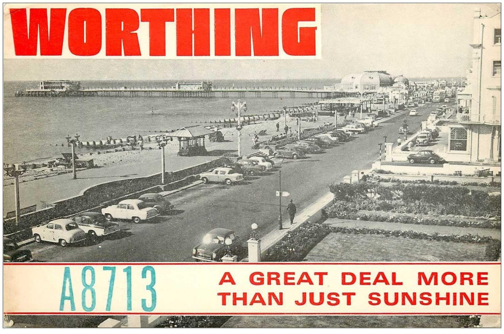 carte postale ancienne CARTE RADIO QSL. Sunny Worthing 1977