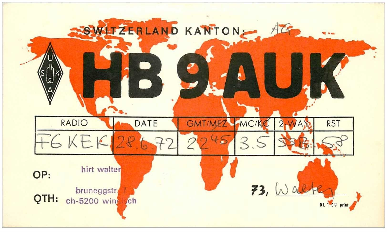 carte postale ancienne CARTE RADIO QSL. Switzeland Kanton 1972