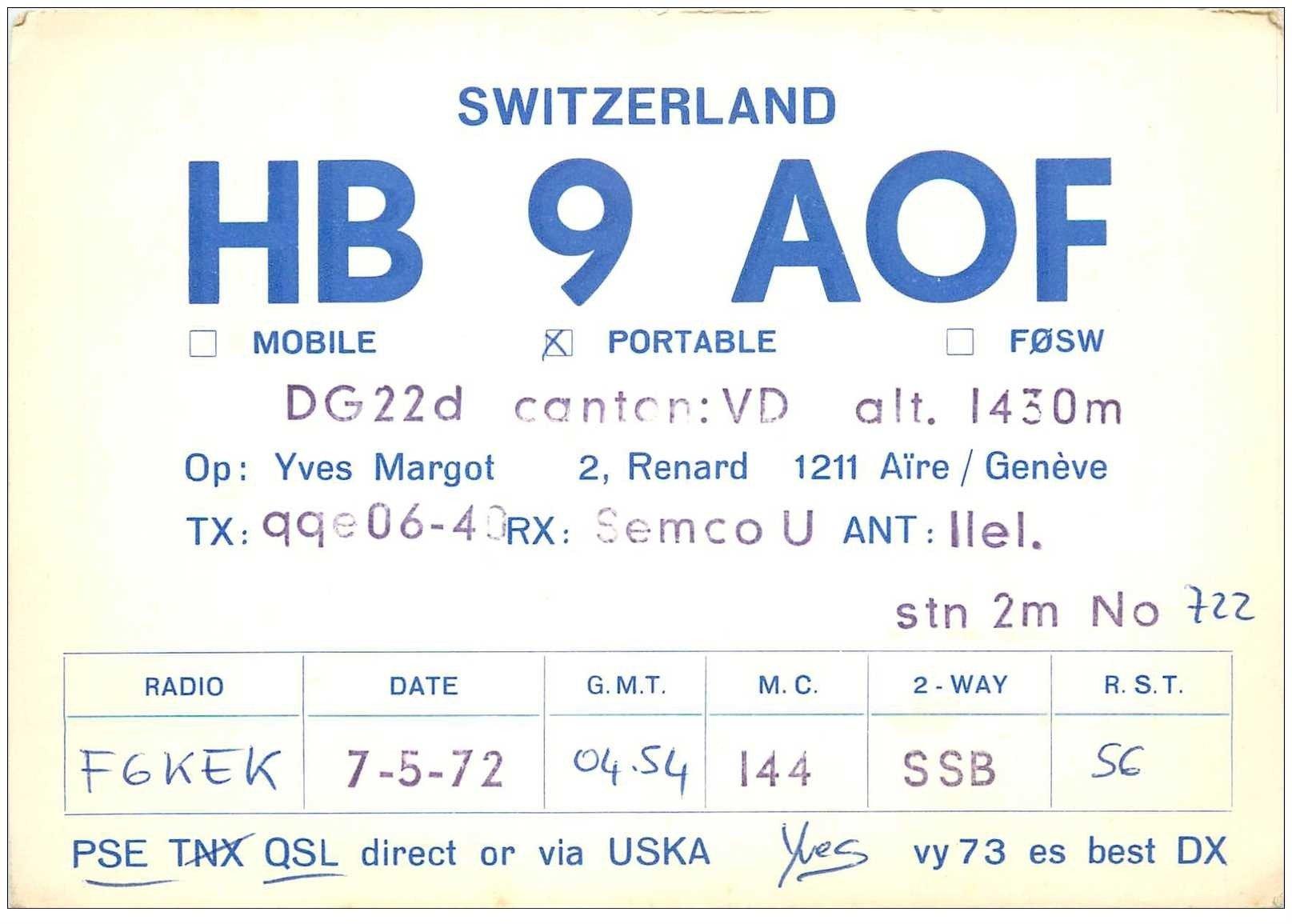 carte postale ancienne CARTE RADIO QSL. Switzerland 1972