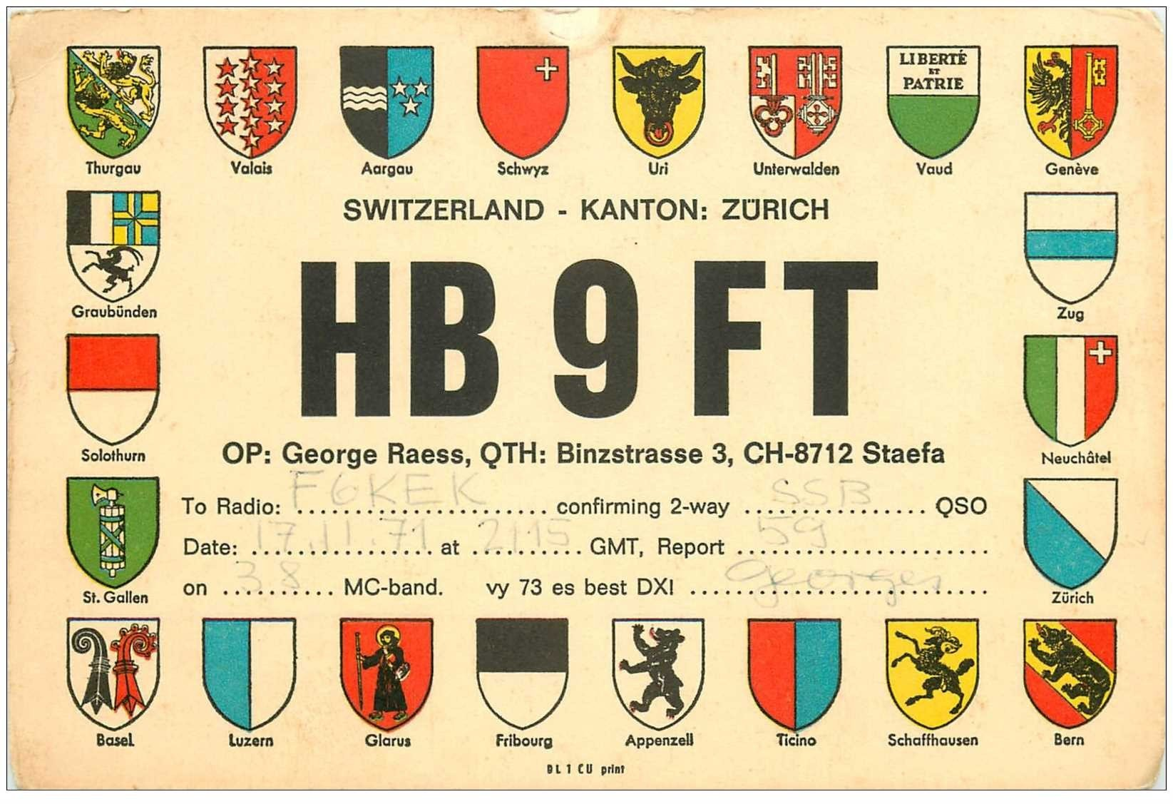 carte postale ancienne CARTE RADIO QSL. Switzerland Zürich 1971